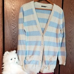 Daisy Fuentes blue/gray stripped cardigan sweater